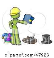 Royalty Free RF Clipart Illustration Of A Green Design Mascot Woman With Many Hats