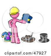 Royalty Free RF Clipart Illustration Of A Pink Design Mascot Woman With Many Hats by Leo Blanchette