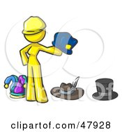 Royalty Free RF Clipart Illustration Of A Yellow Design Mascot Woman With Many Hats