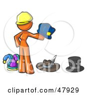 Royalty Free RF Clipart Illustration Of An Orange Design Mascot Woman With Many Hats by Leo Blanchette