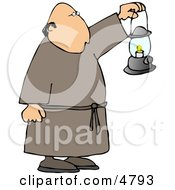 Monk Walking Around With A Lit Lantern During The Night Clipart