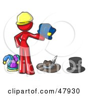 Royalty Free RF Clipart Illustration Of A Red Design Mascot Woman With Many Hats