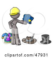 Royalty Free RF Clipart Illustration Of A Gray Design Mascot Woman With Many Hats