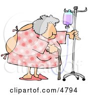 Obese Elderly Woman Walking Around With A Cane While Attached To A Portable Intravenous Drip Line