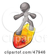 Royalty Free RF Clipart Illustration Of A Gray Design Mascot Surfer Chick by Leo Blanchette