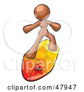 Royalty Free RF Clipart Illustration Of A Brown Design Mascot Surfer Chick