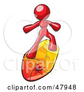 Royalty Free RF Clipart Illustration Of A Red Design Mascot Surfer Chick by Leo Blanchette