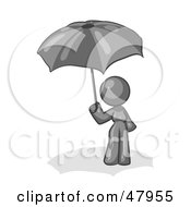 Royalty Free RF Clipart Illustration Of A Gray Design Mascot Woman Under An Umbrella by Leo Blanchette