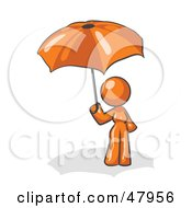 Royalty Free RF Clipart Illustration Of An Orange Design Mascot Woman Under An Umbrella by Leo Blanchette