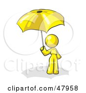 Royalty Free RF Clipart Illustration Of A Yellow Design Mascot Woman Under An Umbrella