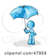 Royalty Free RF Clipart Illustration Of A Blue Design Mascot Woman Under An Umbrella by Leo Blanchette