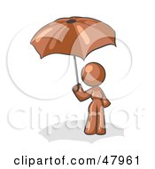 Royalty Free RF Clipart Illustration Of A Brown Design Mascot Woman Under An Umbrella
