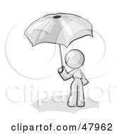 Royalty Free RF Clipart Illustration Of A White Design Mascot Woman Under An Umbrella