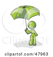 Royalty Free RF Clipart Illustration Of A Green Design Mascot Woman Under An Umbrella by Leo Blanchette