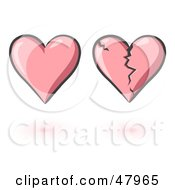 Royalty Free RF Clipart Illustration Of A Digital Collage Of Whole And Cracked Pink Hearts by Leo Blanchette