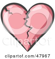 Royalty Free RF Clipart Illustration Of A Cracking And Breaking Pink Heart by Leo Blanchette