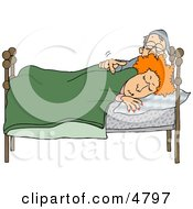 Husband Trying To Wake Up His Wife In Bed During The Early Morning Clipart