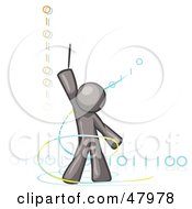 Royalty Free RF Clipart Illustration Of A Gray Design Mascot Man Composing Binary Code by Leo Blanchette