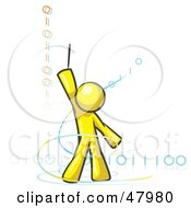 Yellow Design Mascot Man Composing Binary Code