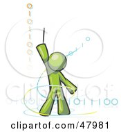 Royalty Free RF Clipart Illustration Of A Green Design Mascot Man Composing Binary Code