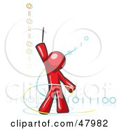 Royalty Free RF Clipart Illustration Of A Red Design Mascot Man Composing Binary Code