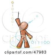 Poster, Art Print Of Brown Design Mascot Man Composing Binary Code