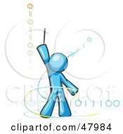 Royalty Free RF Clipart Illustration Of A Blue Design Mascot Man Composing Binary Code