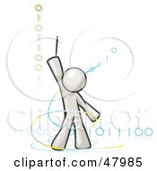 Royalty Free RF Clipart Illustration Of A White Design Mascot Man Composing Binary Code by Leo Blanchette