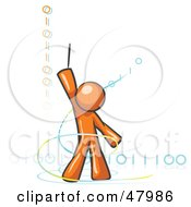 Royalty Free RF Clipart Illustration Of An Orange Design Mascot Man Composing Binary Code