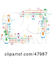 Royalty Free RF Clipart Illustration Of Happy Snowmen Corner Designs by Prawny