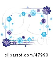 Royalty Free RF Clipart Illustration Of Purple And Blue Flower Corner Designs