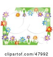 Royalty Free RF Clipart Illustration Of Happy Flower Corner Designs by Prawny