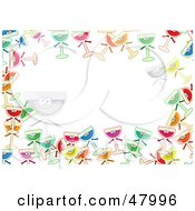 Royalty Free RF Clipart Illustration Of A Colorful Stationery Border Of Happy Wine Glasses On White by Prawny