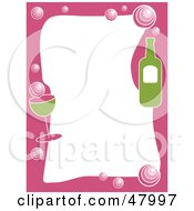 Royalty Free RF Clipart Illustration Of A Pink And Green Stationery Border Of Champagne On White by Prawny