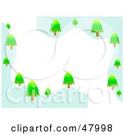 Stationery Border Of Snowy Hills With Evergreen Trees On White
