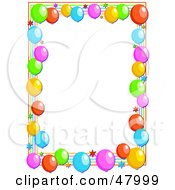 Royalty Free RF Clipart Illustration Of A Colorful Stationery Border Of Party Balloons And Stars On White