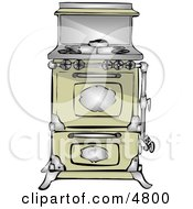Antique Retro Kitchen Stove And Oven Clipart