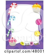 Royalty Free RF Clipart Illustration Of A Purple Stationery Border Of Candy Canes Suckers And Cupcakes On White by Prawny