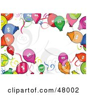 Royalty Free RF Clipart Illustration Of A Stationery Border Of Happy Colorful Party Balloons On White