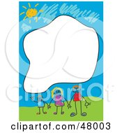 Royalty Free RF Clipart Illustration Of A Stationery Border Of A Happy Stick People Family With A Text Box