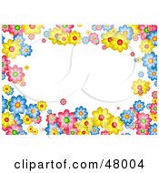 Royalty Free RF Clipart Illustration Of A Colorful Stationery Border Of Flowers On White
