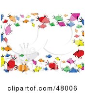Colorful Stationery Border Of Swimming Fish On White