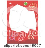 Red Stationery Border Of The Three Wise Men On White