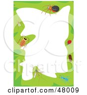 Royalty Free RF Clipart Illustration Of A Green Stationery Border Of Insects On White by Prawny