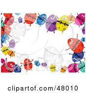 Colorful Stationery Border Of Happy Eggs On White