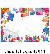 Royalty Free RF Clipart Illustration Of A Colorful Stationery Border Of Birthday Cakes On White by Prawny