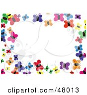 Royalty Free RF Clipart Illustration Of A Colorful Stationery Border Of Butterflies On White by Prawny