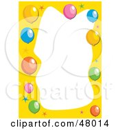 Royalty Free RF Clipart Illustration Of A Stationery Border Of Stars And Party Balloons On White