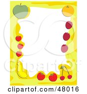 Royalty Free RF Clipart Illustration Of A Yellow Stationery Border Of Healthy Fruit On White by Prawny