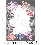 Royalty Free RF Clipart Illustration Of A Stationery Border Of Flower Sketches